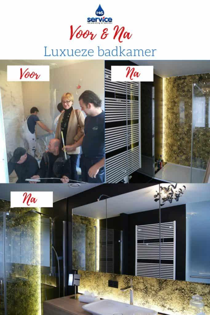 badkamer met acrylplaat en verlichting